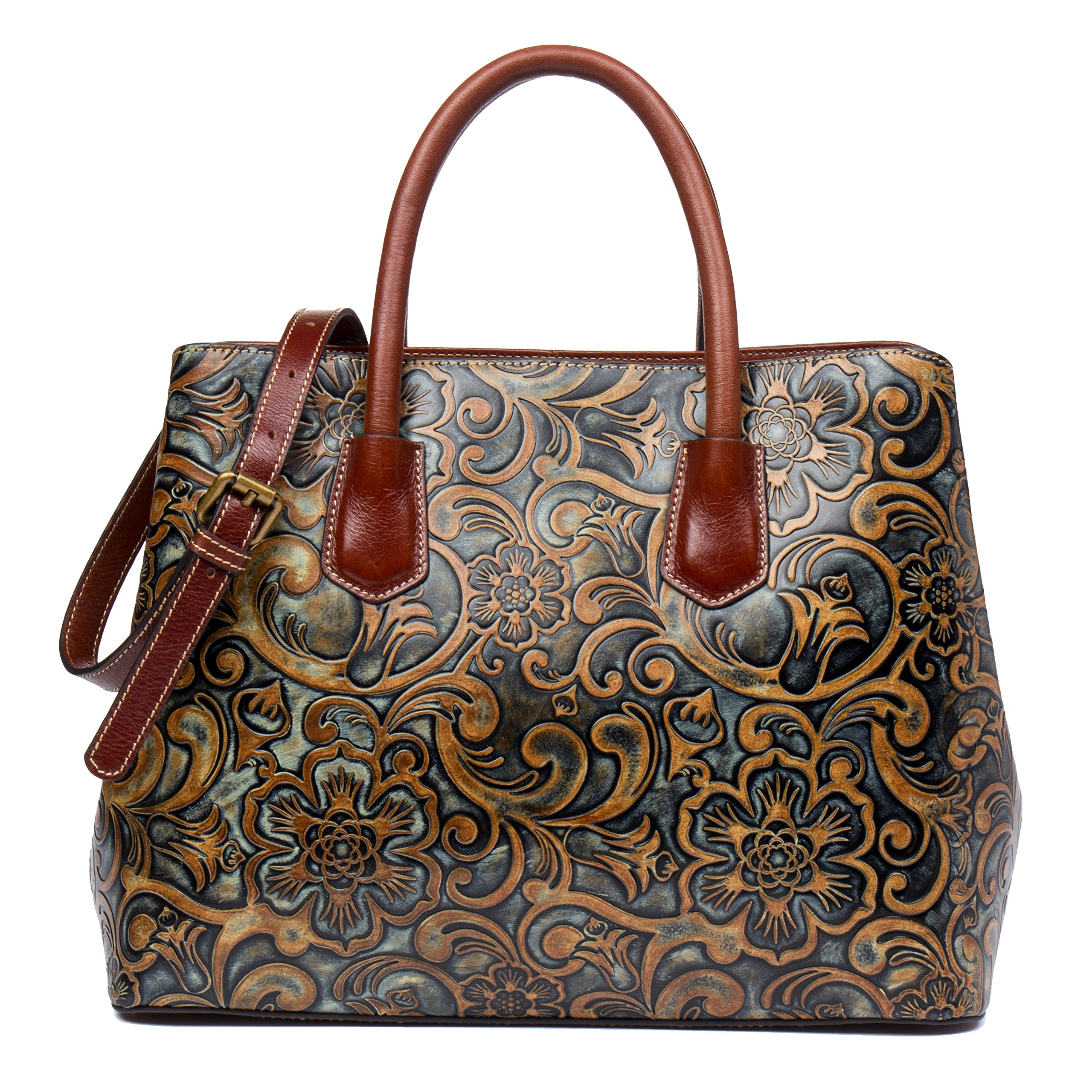 Malirona Embossed Floral Imported Leather Top-handle Bag For Women (Brown)