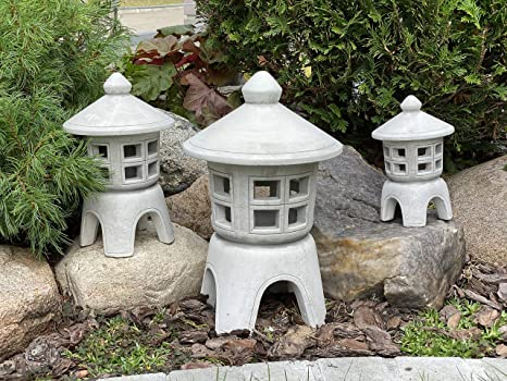 Set Oki Gata Japanische Steinlaternen aus massivem Steinguss frosfest Japanlampe