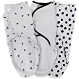 Adjustable Swaddle Blanket Infant Baby Wrap Set 3 Pack 0-3 Months,for Baby Girl or Boy Black and Grey Combo by Ely's & Co.