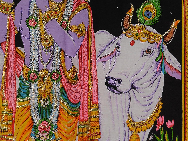 Coton /à sequins photo Dieu Hindou Krishna D/écoration murale/ /80/x 80/x 110/cm