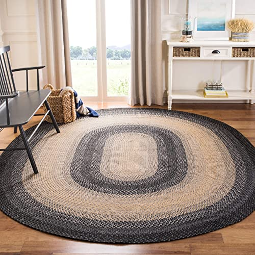 Safavieh Braided Collection BRD311A Hand Woven Black and Grey Oval Area Rug 5 x 8 Oval