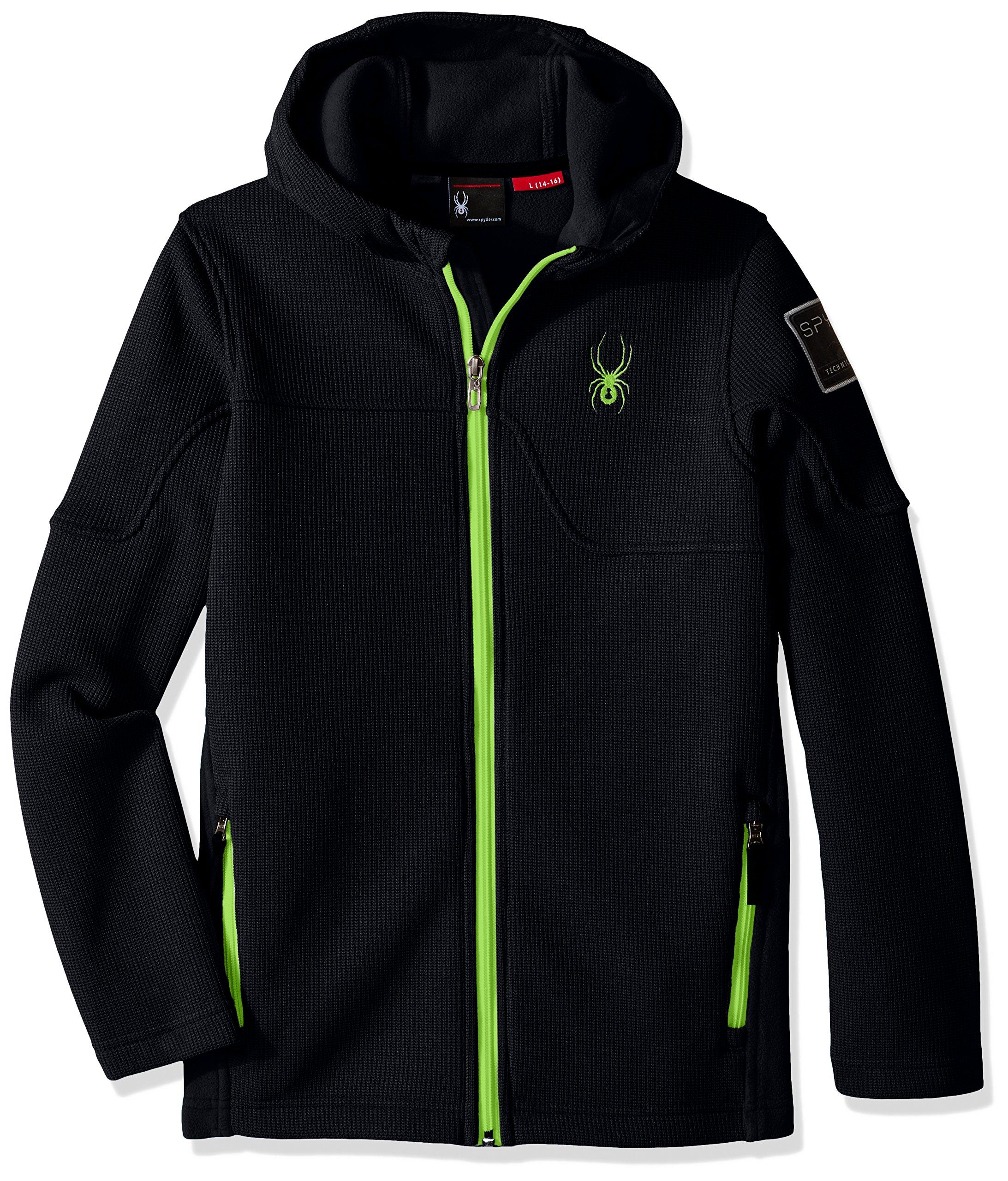 Spyder Boys Upward Mid WT Stryke Fleece Shirt, Black/Bryte Green, Small