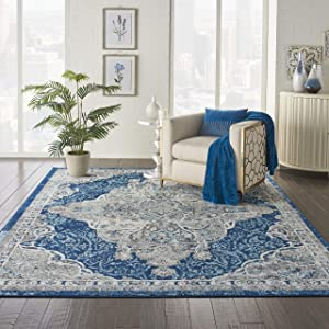 "Nourison Persian Vintage 8' x 10' Bohemian Style Area Rug, Ivory/Turquoise 7'10""X9'10"""