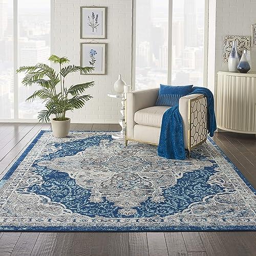 Nourison Persian Vintage 8 x 10 Bohemian Style Area Rug, Ivory Turquoise 7 10 X9 10