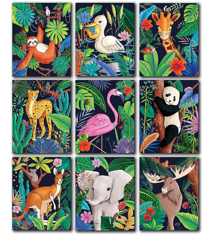 Woodland Safari Jungle Animal Poster - Nursery Wall Decor, Safari Nursery Decor, Woodland Wall Decor, Animal Wall Decor, Animal Wall Art, Poster for Boys Room Decor, 8x10 Inches Unframed Set of 9