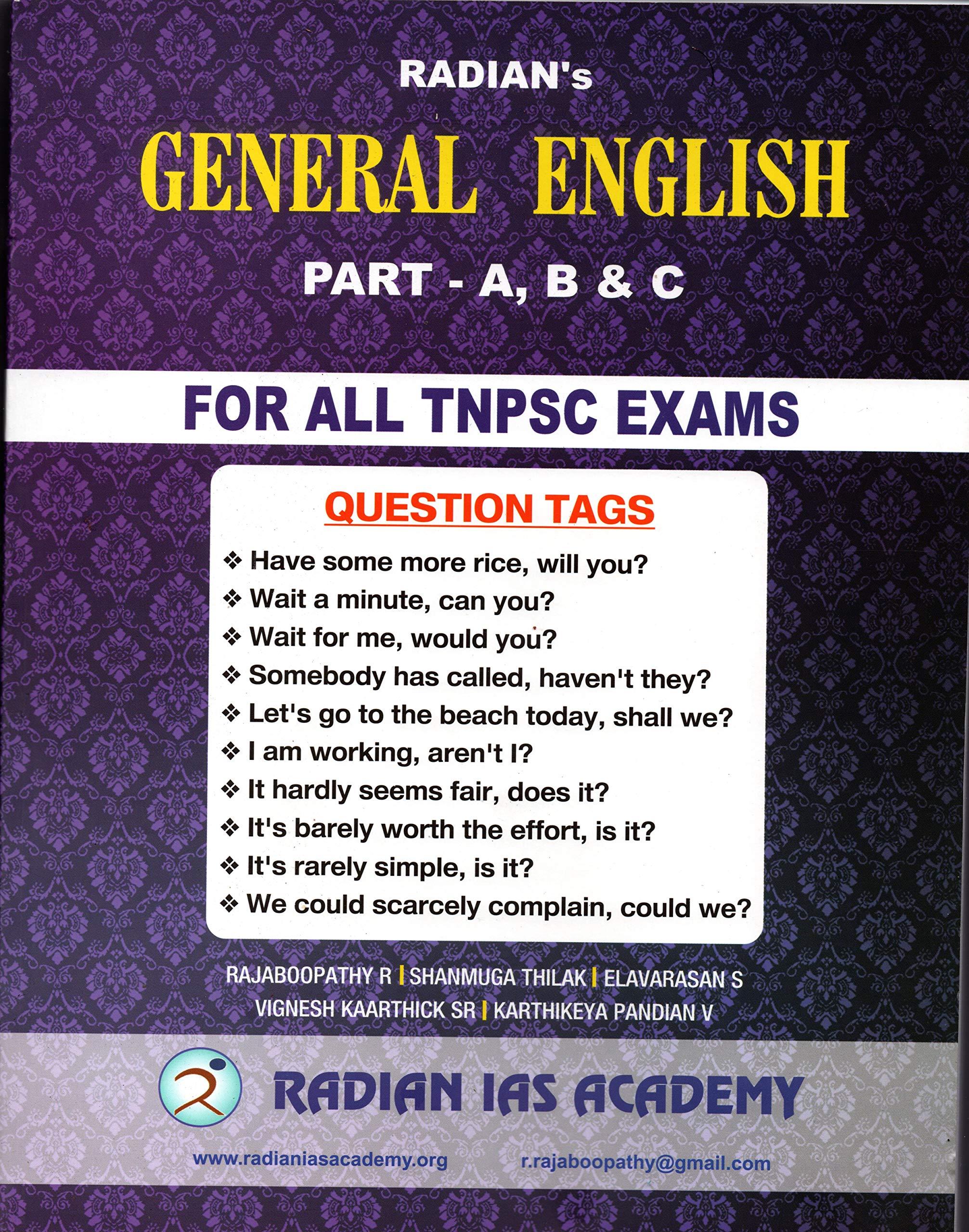 Buy GENERAL ENGLISH RADIAN's TNPSC BOOK (ENGLISH) Book