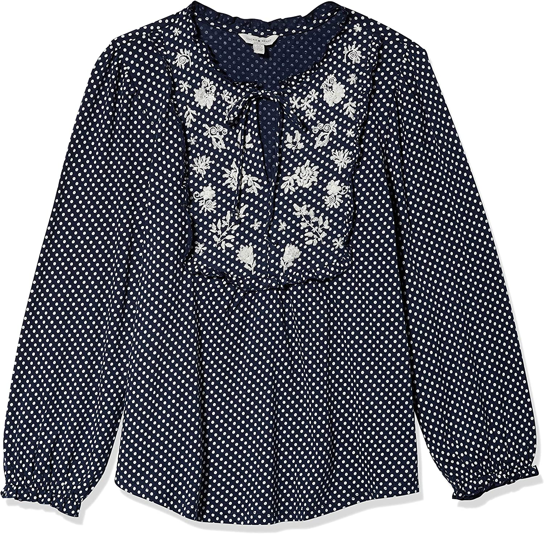 Lucky Brand Women's 3/4 Sleeve Polka Dot Embroidered Bib Top