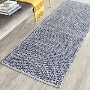"Safavieh Montauk Collection MTK717H Handmade Flatweave Ivory and Navy Cotton Runner (2'3"" x 7')"