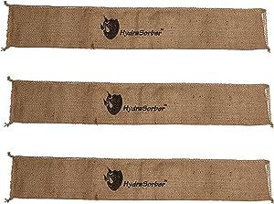 HydraSorber - Sandless Sandbags - Water Absorbent Flood Barrier - 4ft Long X 8in Wide - Three Pack