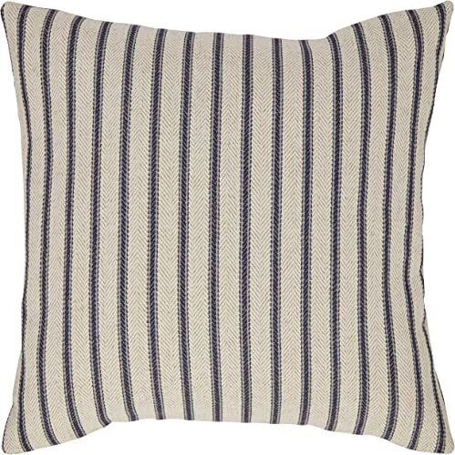Amazon Brand Stone Beam Classic Ticking Stripe Throw Pillow – 17 x 17 Inch, Indigo