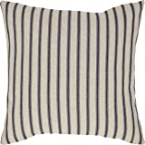 Amazon Brand – Stone & Beam Classic Ticking Stripe Throw Pillow - 17 x 17 Inch, Indigo