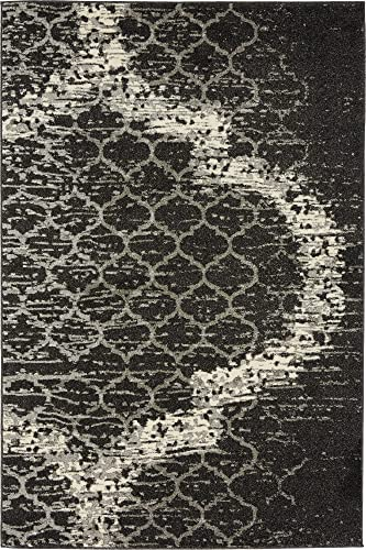 Unique Loom Trellis Collection Geometric Modern Charcoal Gray Area Rug 4 0 x 6 0