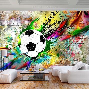 decomonkey Fototapete Graffiti Fußball 400x280 cm XL Tapete Fototapeten  Vlies Tapeten Vliestapete Wandtapete moderne Wandbild Wand Schlafzimmer ...