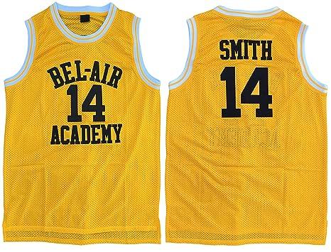 9b40b214a5b4 MVG ATHLETICS Smith  14 Bel Air Academy Throwback Basketball Jersey  Embroidery Yellow S-XL
