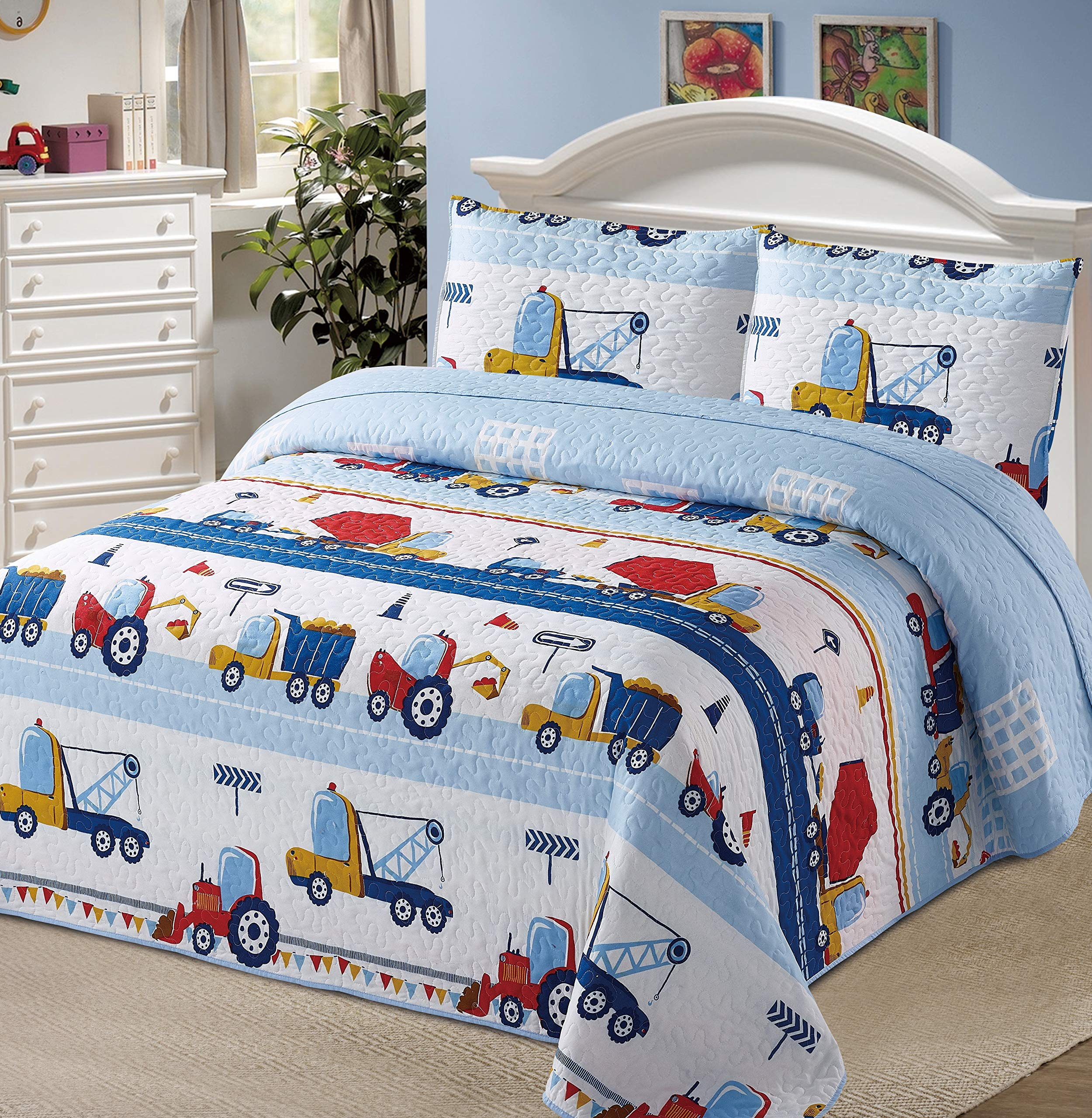 Better Home Style White Blue Red Construction Site Kids/Boys/Toddler Coverlet Bedspread Quilt Set with Pillowcases and Tractor Dump Truck Cement Mixer and Excavator # 2018291 (Queen/Full) by Better Home Style