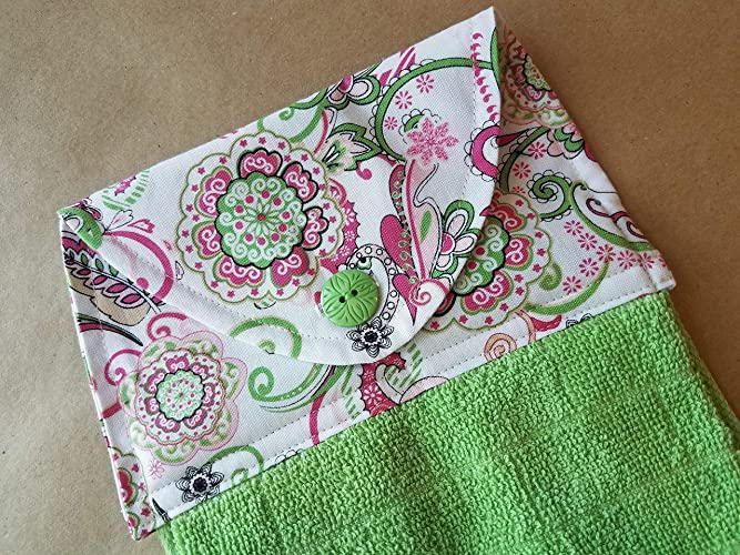 Pink Green Paisley Hanging Kitchen Towel, Modern Button Top Dish Towel,  Modern Floral Kitchen