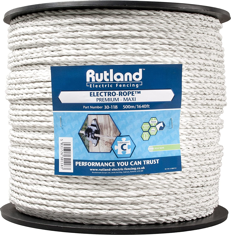 Rutland 30-123R Electric Fence Rope White//Green