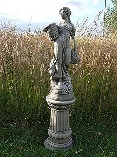 cesto grande lady sobre columna u escultura de mano estatua de piedra adorno de jardn