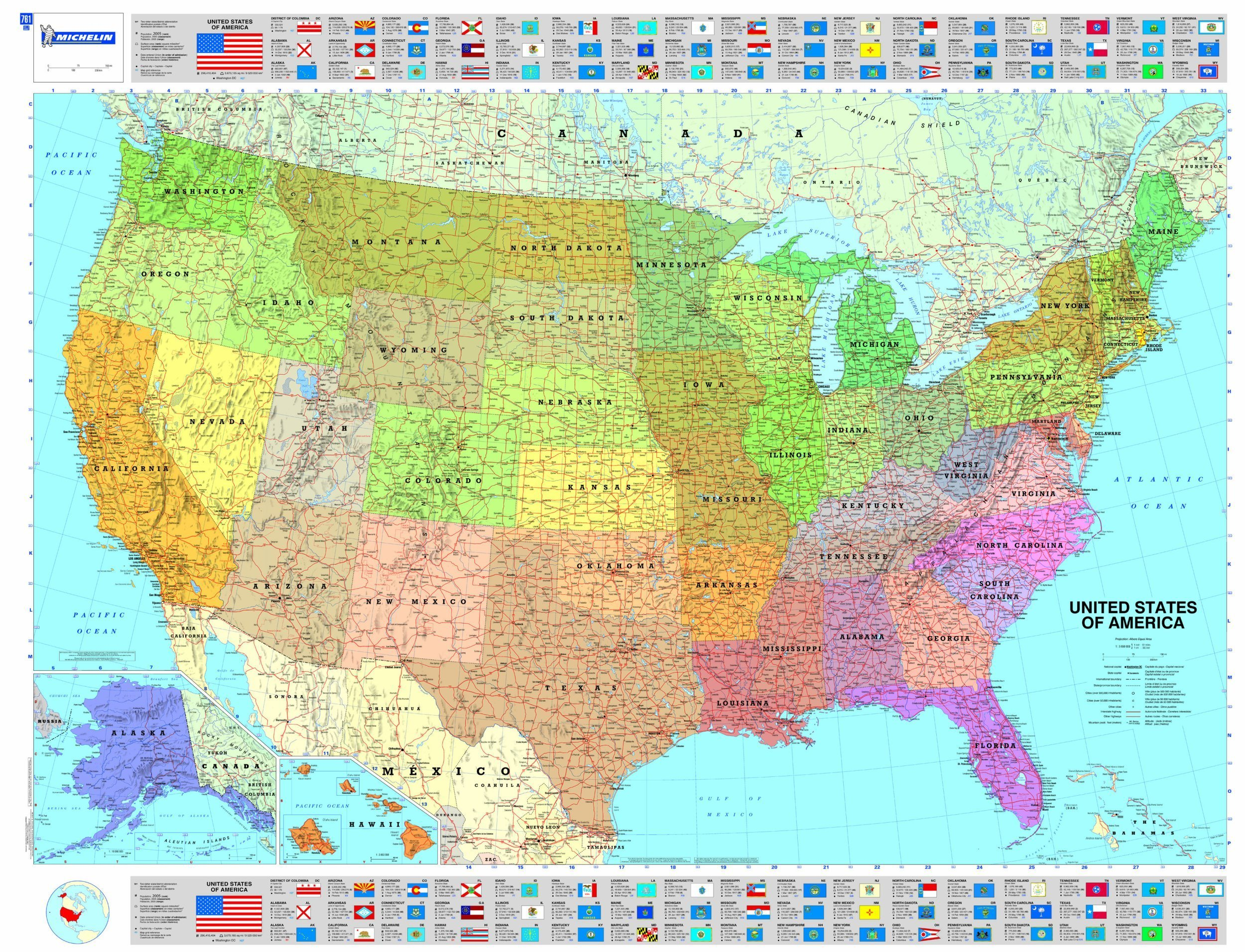 Michelin Map USA Political P Rolled MapsWall Michelin - Political map of the usa