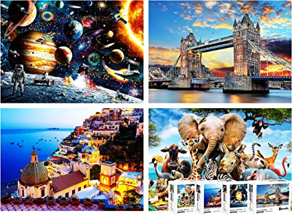 Jigsaw Puzzles 1000 Pieces for Adults,Jigsaw Puzzle Games for Kids,Jigsaw Puzzles Pack of 4 Each 1000PCs