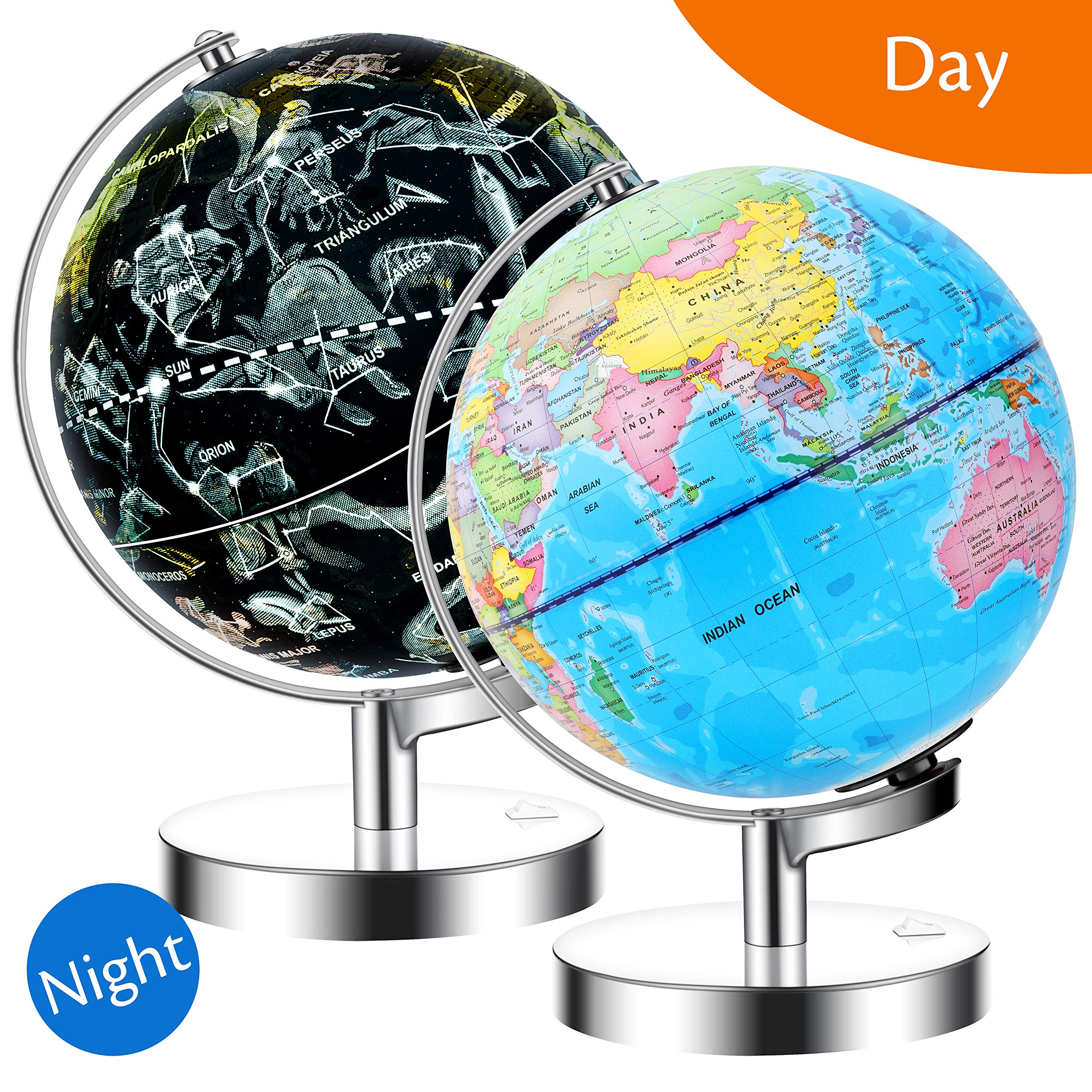 JARBO 8''/20cm Illuminated Constellation World Globe for Kids with Stand, Built-in LED Light Illuminates for Night View of Constellation, Learning Gift Detailed Globe for Kids, Powered by Battery