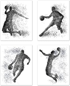 Sports Basketball NBA Wall Art Posters Home Room Decor Man Cave Black and White Silhouette Pictures Prints Decorations for Boys Men Teen College Dorm Playrooom Bedroom Gameroom – Set of 4 8 x 10 in.