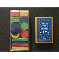 1 jeu de 32 cartes + 100 jetons : poker, belote, piquet, manille, coinche, bataille, menteur, soufflette, big up, jeu des chevaliers, maitre du jeu, biskit, etc