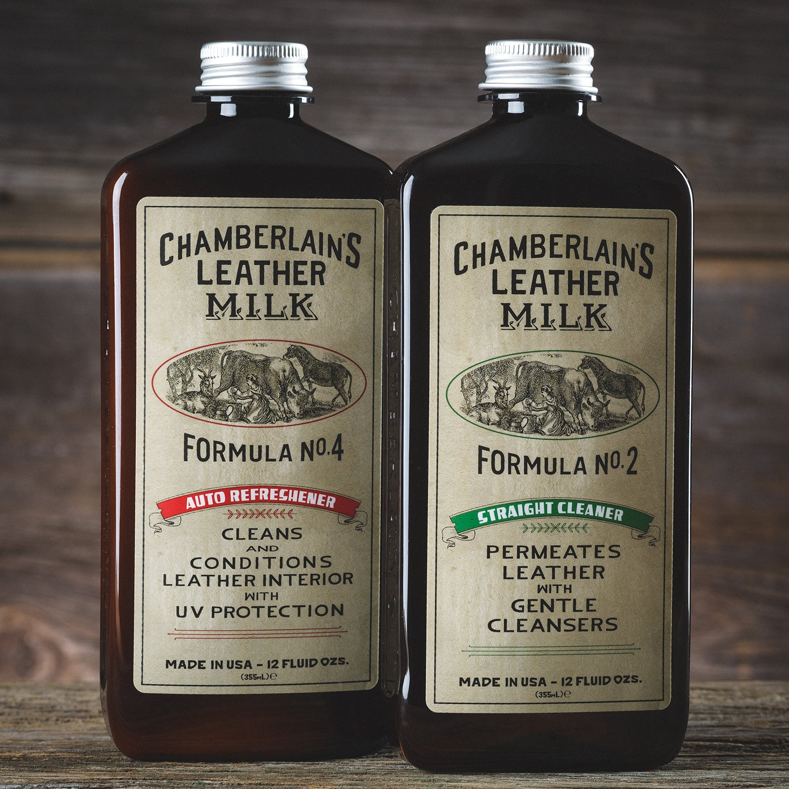 Leather Milk Auto Leather Cleaner & Conditioner Kit (2 Formula Car Detailing Set) - Straight Cleaner No. 2 + Auto Refreshener No. 4 - All Natural, Non-Toxic. Made in USA. Includes 2 Detailing Pads! by Chamberlain's Leather Milk (Image #2)