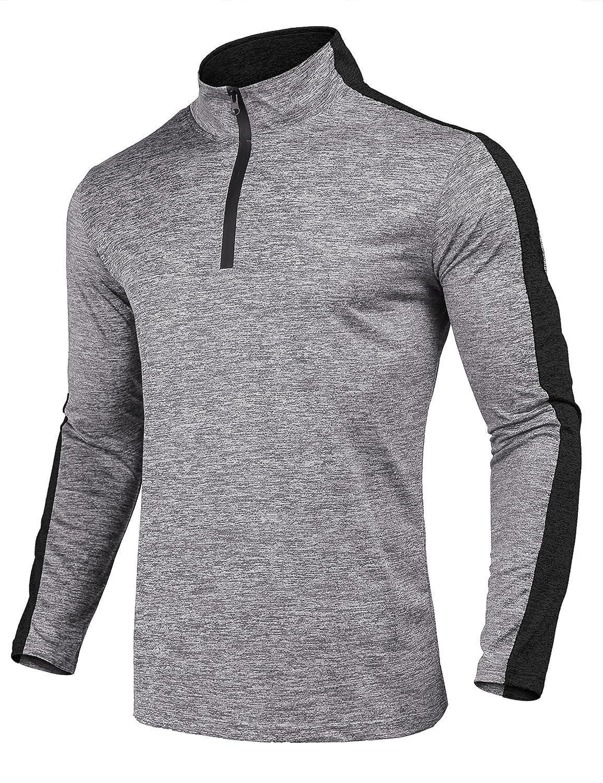COOFANDY Men's Quarter Zip Active Pullover Quick Dry Long Sleeve Sport T Shirt ETJ007319