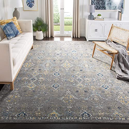 Safavieh Evoke Collection EVK224G Contemporary Dark Grey and Yellow Area Rug 10' x 14'
