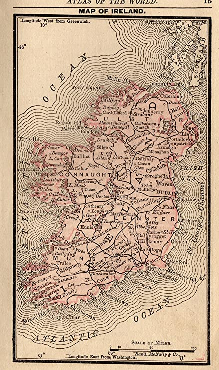 1888 Antique Ireland Map of Ireland Original Vintage Rare Size Miniature Map Not a Reprint Office