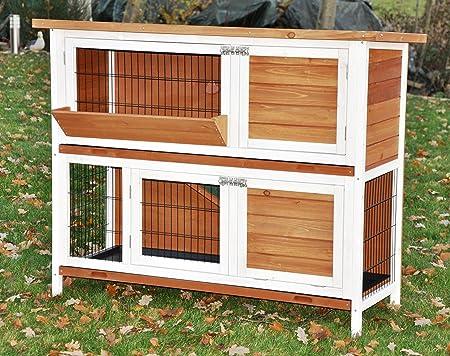 nanook Bommel Kaninchenstall mit Heuraufe, doppelstöckiger Kleintierstall für Meerschweinchen, Kaninchen und Nager, Holz-Hasenstall, 122 x 50 x 103 cm