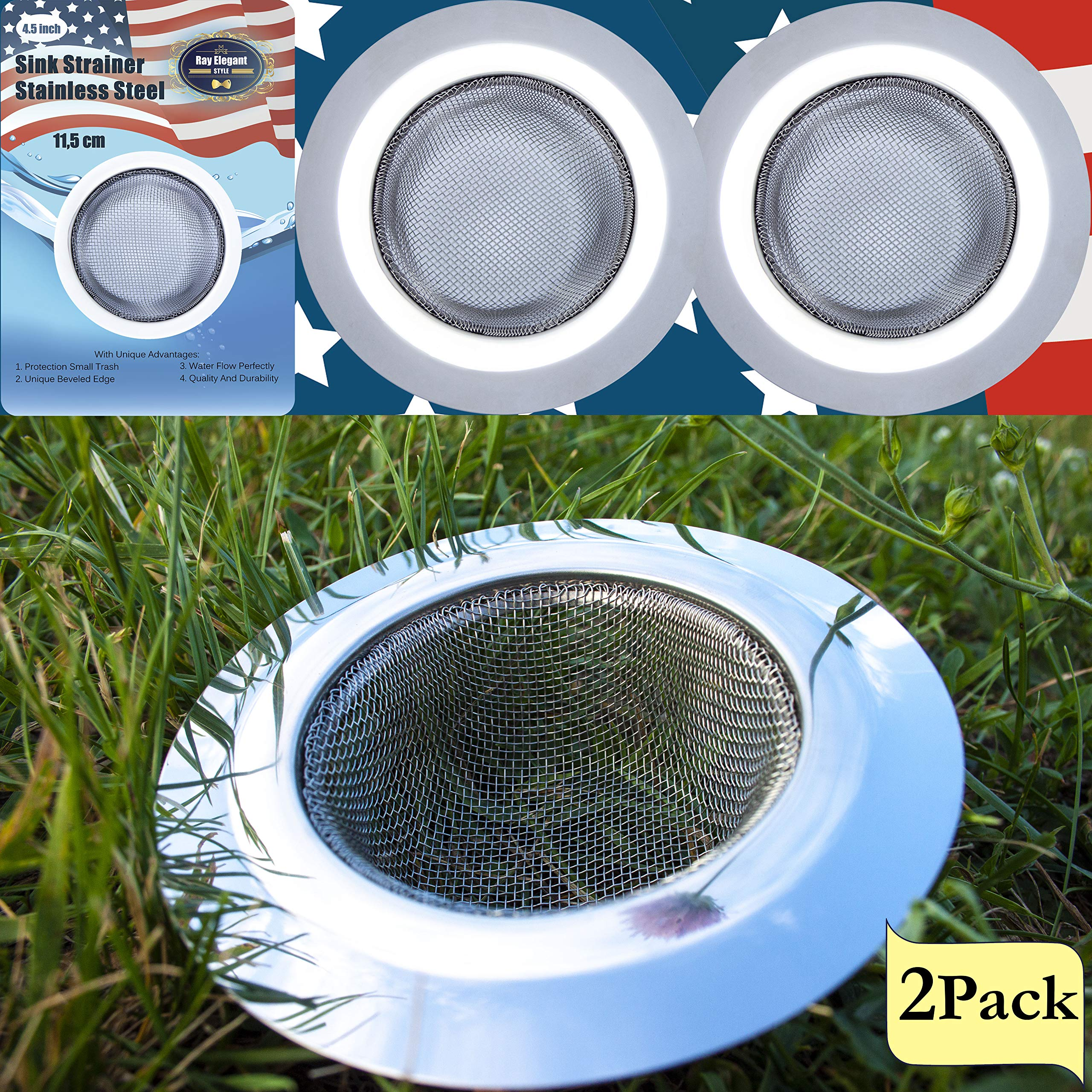 Kitchen Sink Strainer - 2 PC Stainless Steel Sink Strainer 4.5'' - Strong, Clean, Reliable Stainless Steel Prevent Rust, Edges Not Sharp, Deep Mesh, Quick Outflow - Outer 4.5'' x Inner 2.75'' x Deep 1.5'' by RE-Style (Image #2)