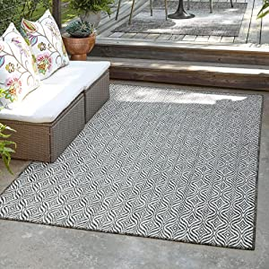 Unique Loom Trellis Collection Modern Geometric Transitional Indoor and Outdoor Flatweave Rug_OTR015, 4 x 6 Feet, Charcoal/Ivory