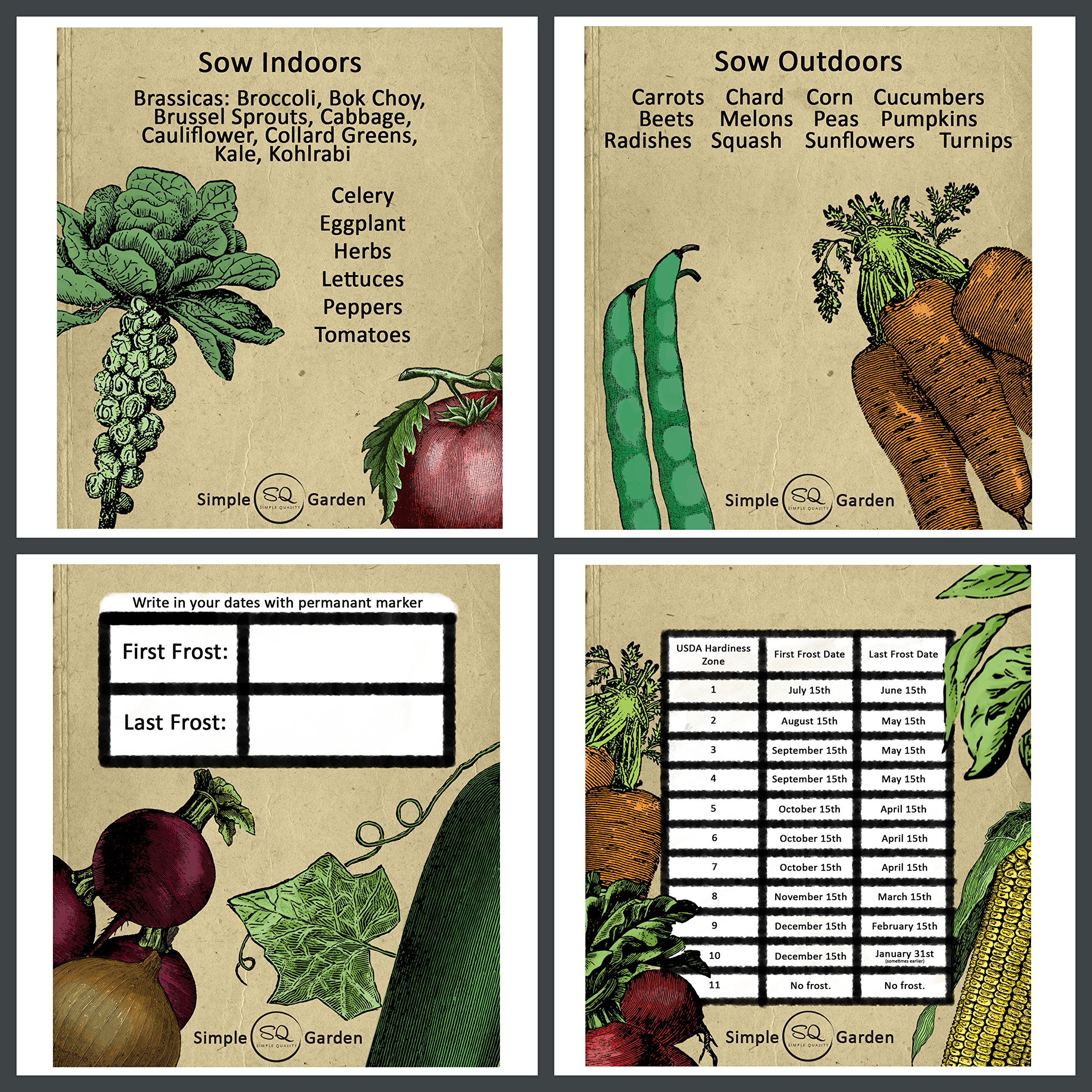 Seed Storage Container Organizer Garden Box with 23 Vintage Heirloom Vegetable Design Divider Cards. by Simple Quality (Image #2)