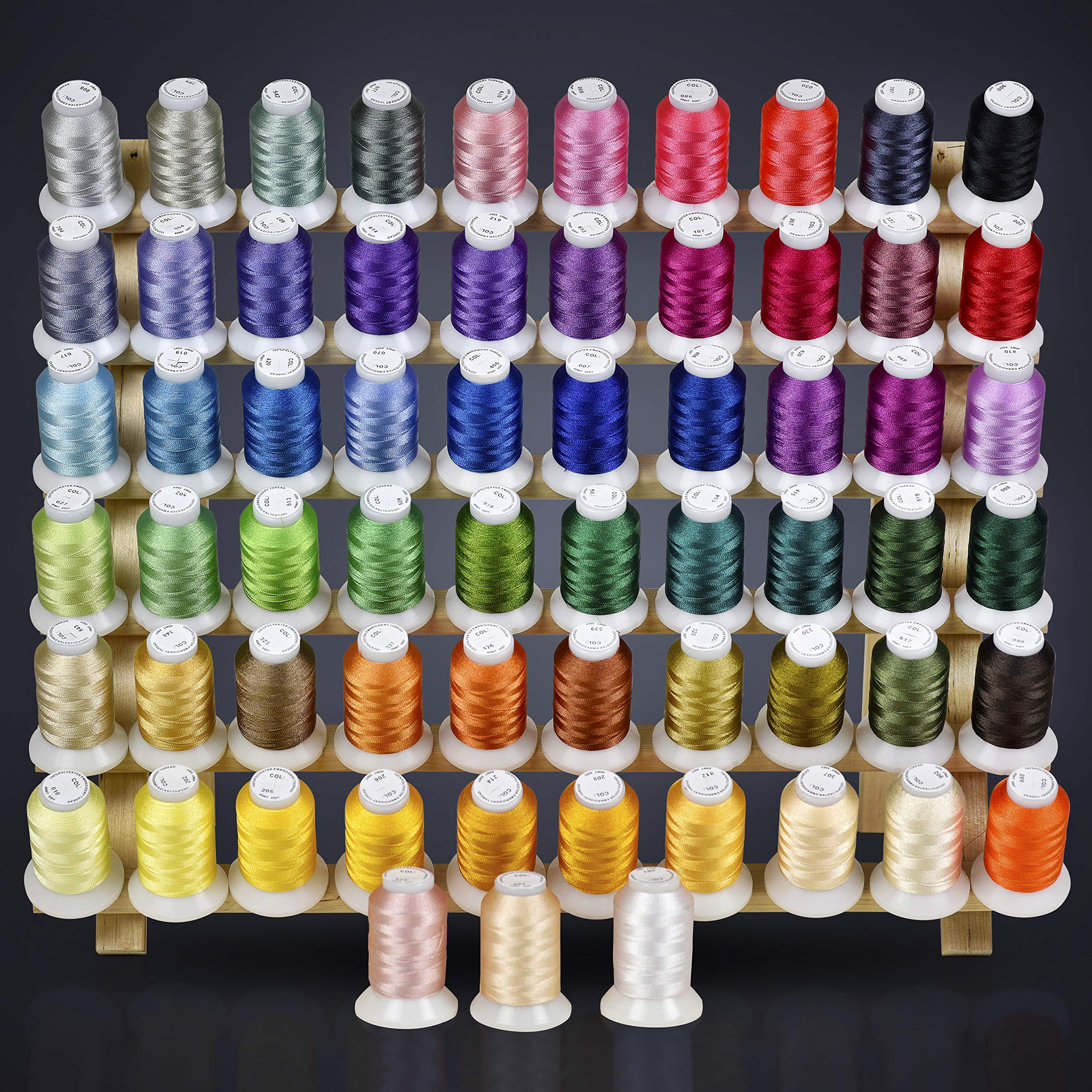 63 Brother Colors Embroidery Machine Thread Set 120D/2 40weight for Brother Babylock Janome Singer Pfaff Husqvarna Bernina Machines by ThreadNanny