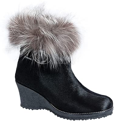 b063d42b Women's Katy Wool-Lined Calfskin Boots with Fox Fur Trim Black/Silver