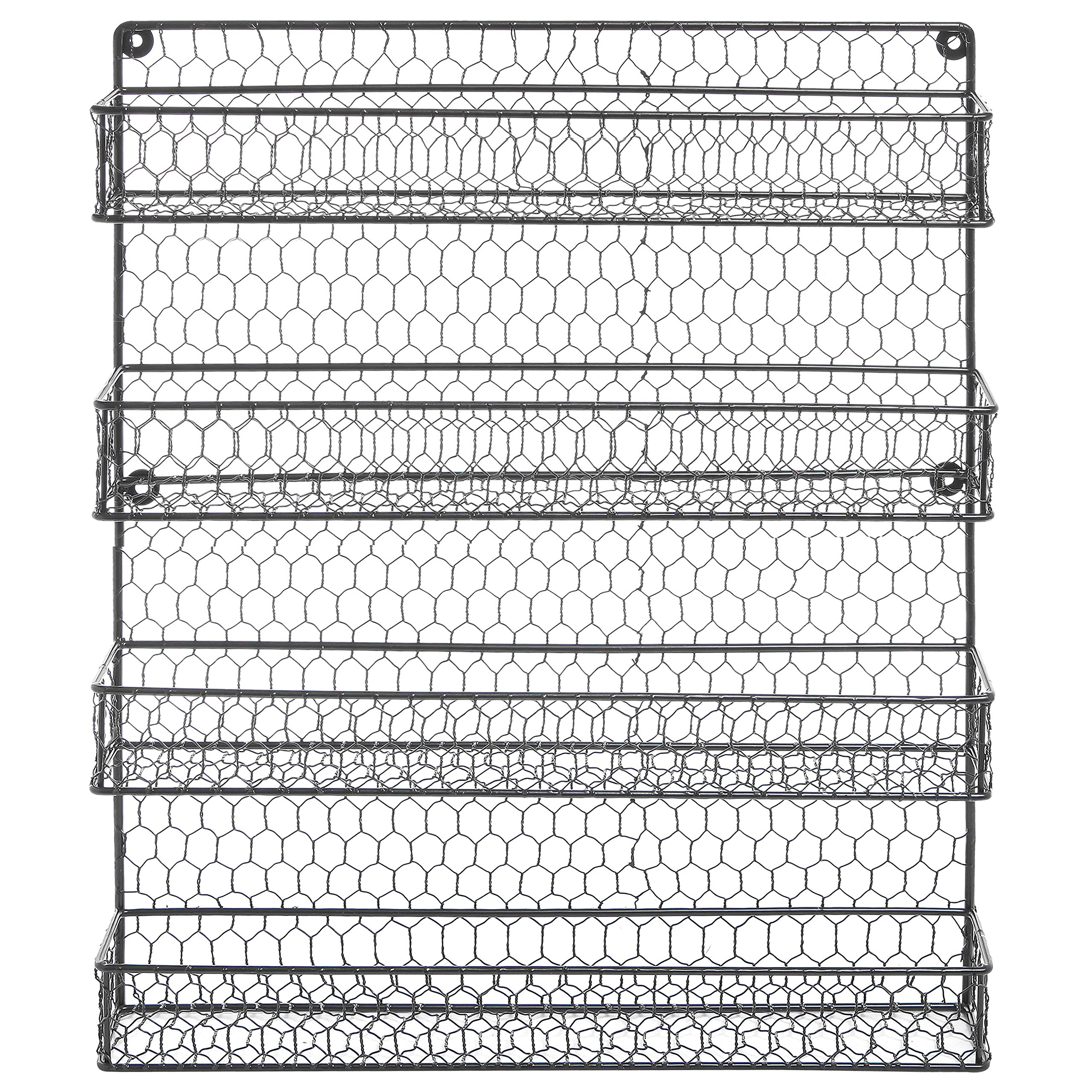 4 Tier Black Country Rustic Chicken Wire Pantry, Cabinet or Wall Mounted Spice Rack Storage Organizer by MyGift (Image #4)