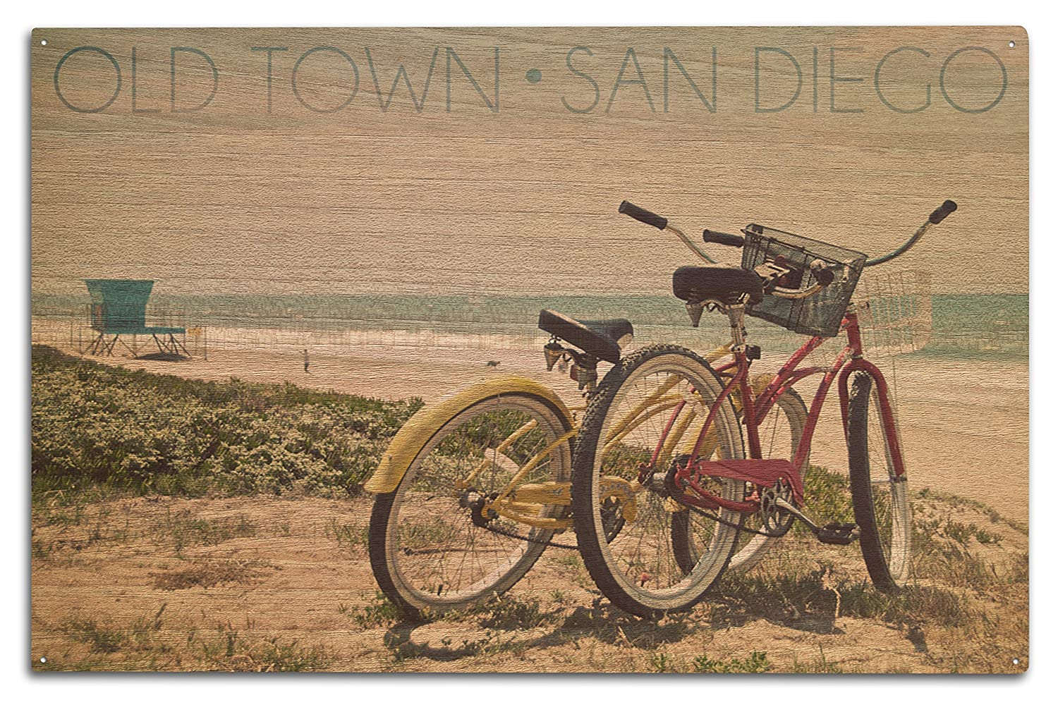 超人気新品 Old Town – サンディエゴ、カリフォルニア州 15 – Bicyclesとビーチシーン Sign 10 x Wood 15 Wood Sign LANT-55195-10x15W B07366T1WF 10 x 15 Wood Sign, Millky Way Shop:9eaff35a --- arianechie.dominiotemporario.com