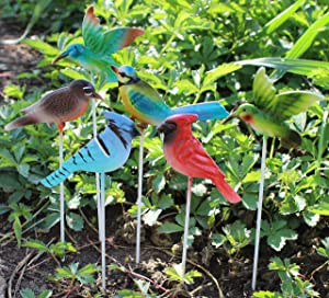 "Set of 6 Assorted MayRich 1.5"" Miniature Metal Bird Garden Stakes"