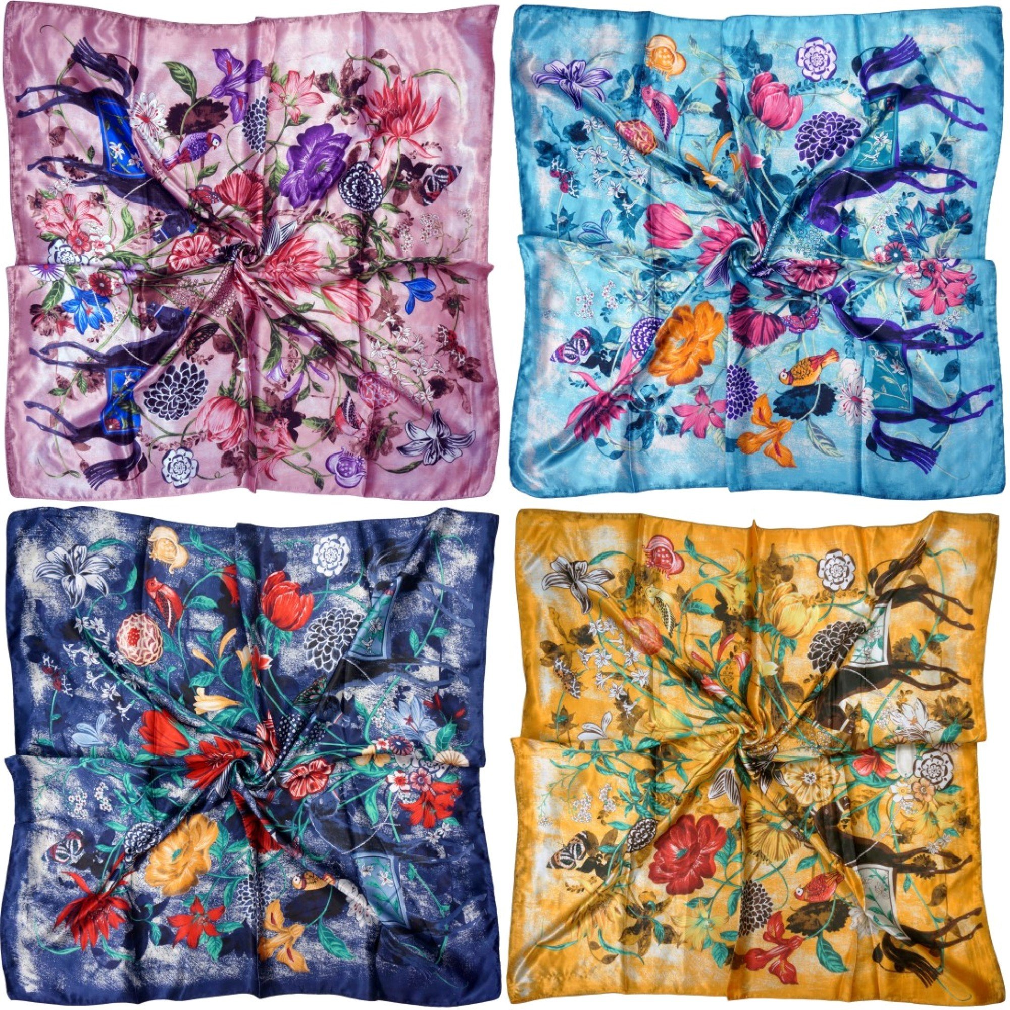 LilMents 4 Mixed Designs Large 35'' × 35'' Square Polyester Satin Neck Head Scarf Scarves Set (Set P)