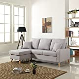 Mid Century Modern Linen Fabric Small Space Sectional Sofa with Reversible Chaise (Light Grey)