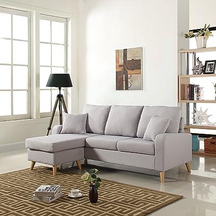 Amazon.com: Divano Roma Furniture Mid Century Modern Linen Fabric ...