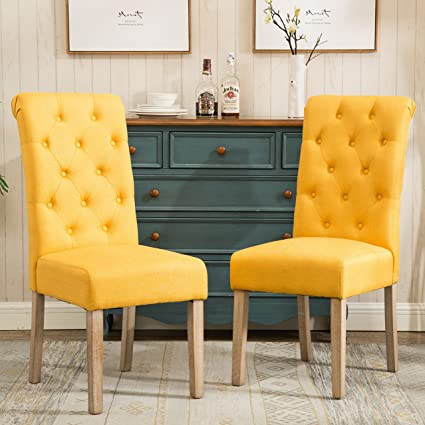 Beau Roundhill Furniture C161YL Habit Solid Wood Tufted Parsons Dining Chair,  Set Of 2, Yellow