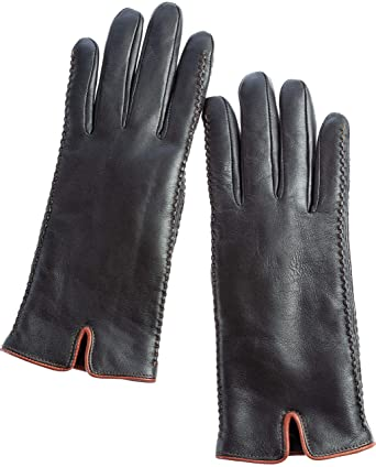 5ed4c8558 Women's Hollis Shearling-Lined Lambskin Leather Gloves at Amazon Women's  Clothing store: