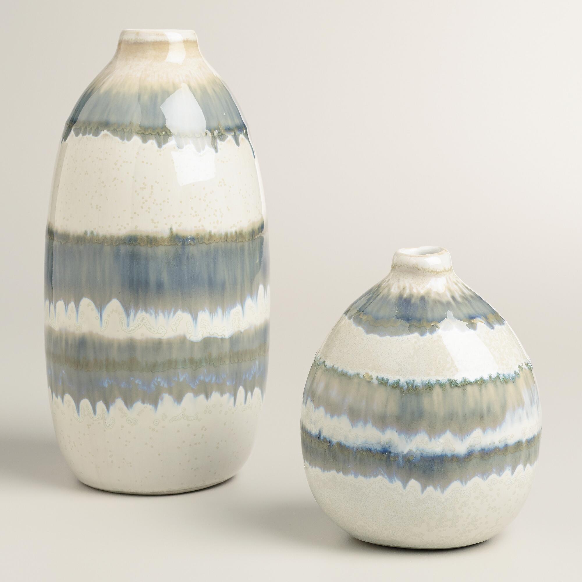 Gray Thai Stripe Ceramic Vases | World Market