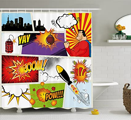 Ambesonne Superhero Shower Curtain By Retro Comic Book Speech Bubbles Mock Up Symbols Sound