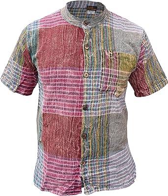 GHERI Mens Kathmandu Printed Patchwork Grandad Short Sleeve Summer Festival Kurta Shirt