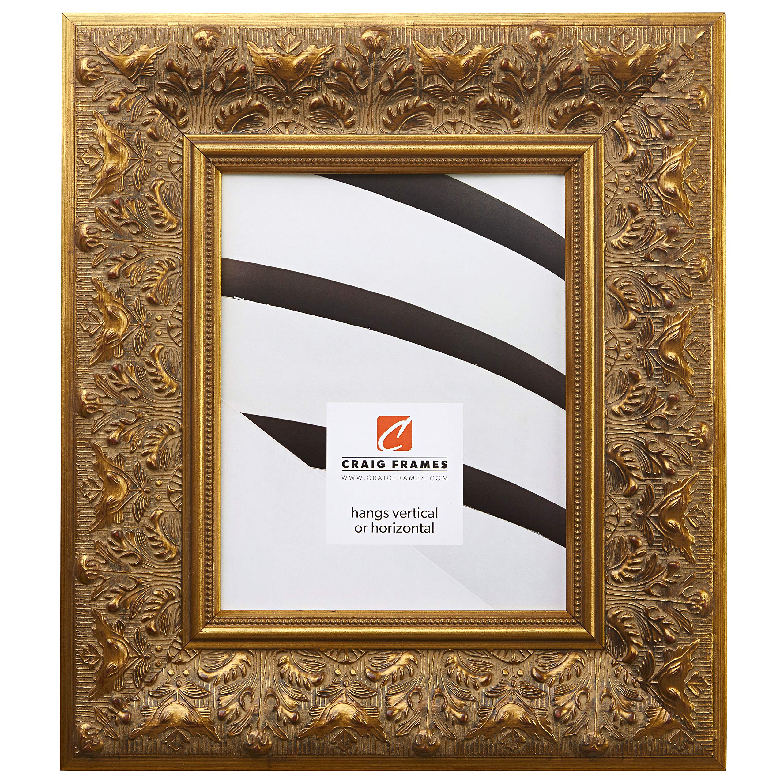 Craig Frames 9472 8 by 10-Inch Picture Frame, Ornate Finish, 3.5-Inch Wide, Weathered Gold