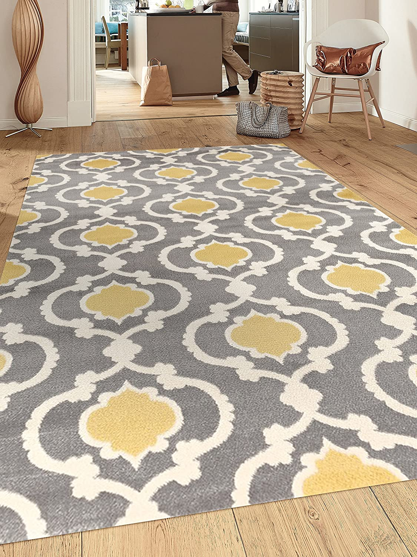 Amazon Com Moroccan Trellis Contemporary Gray Yellow 5 3 X 7 3 Indoor Area Rug Furniture Decor